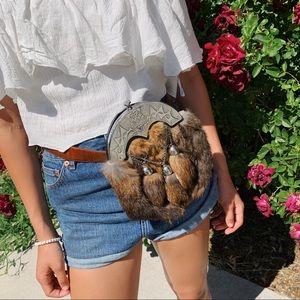 Vintage leather + fur waist belt bag